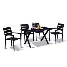 Modern Contemporary 5 Piece Black Metal Rectangular Outdoor Dining