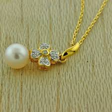details about brand new 18ct yellow gold white pearl diamond pendant necklace iu10