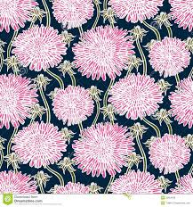 Vintage Floral Print Vintage Floral Pattern With Dandelions Or Asters Stock Photo