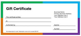 gift certificate for business donating gift certificates