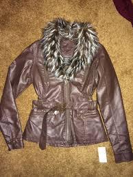 size large jou jou women s juniors faux fur belted jacket brown msrp 75 from joujou