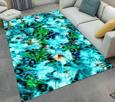 abstract watercolor flowers area rug kid play soft carpet room floor beach mat