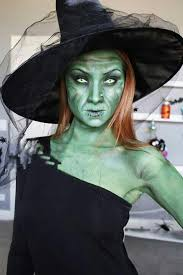 scary green witch costume makeup