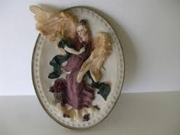 angel wall plaque roses dove gold rim