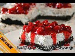heavenly no bake oreo cherry cheesecake