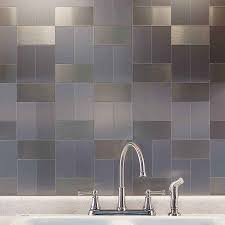 Kitchen Backsplash Panel Aspect 3x6 Brushed Stainless Long Grain Metal Backsplash Tile