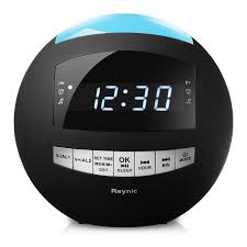 raynic dual alarm clock radio sphere wireless bluetooth speaker w usb charging port multi color led night light snooze hands free calling all in one