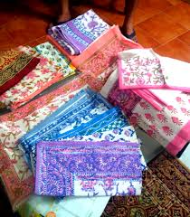 rajasthan fabric print refreshingly random supernet sarees zari borders sanganeri printed table covers and bed sheets these items usually come in a white