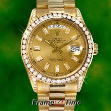 rolex mens president day date 18k gold baguette diamond champagne image is loading rolex mens president day date 18k gold baguette