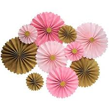 Pink Paper Flower Decorations Mybbshower Pink Gold Paper Flowers Wall Home Decor Girls Birthday Party Pinwheel Backdrop Pack Of 10