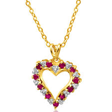 home 9ct alluring yellow gold diamond ruby pendant image