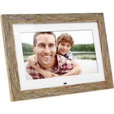 aluratek 10 inch distressed wood digital photo frame with auto slideshow feature adpfd10f