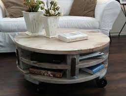 white rustic round coffee table with storage