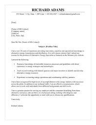 Alternative Energy Specialist Cover Letter