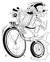 Small Picture Rat Fink character atop a high wheel bicycle with ape hanger