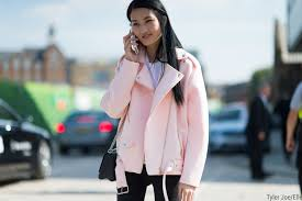 women s pink wool biker jacket white crew neck t shirt black skinny jeans black leather cross bag women s fashion