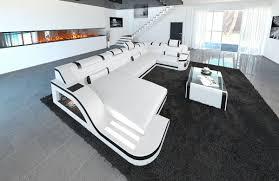 Sofa Dreams Leder Wohnlandschaft Palermo U Form Weiss