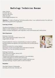 Radiologic Technologist Resume New Radiologic Technologist Resume