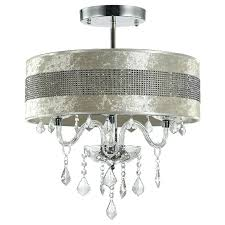 light lovable modern semi flush lighting crystal ceiling lights with fabric shade decorative light base