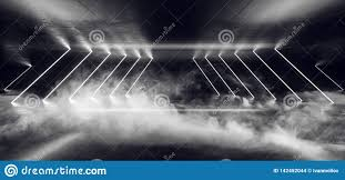 Cyber White Fog Lights Smoke Fog Background Neon Glowing Cyber White Sci Fi Modern