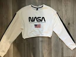 Details About Divided H M Womens Size Small Nasa White Sweatshirt Cropped Long Sleeve New Nwt