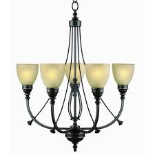 commercial electric 5 light bronze chandelier with tea stained glass shades