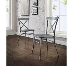 rustic distressed metal crossback galvanized silver dining chair set of 2 ebay