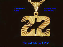 details about game day number 22 pendant 24k gold plated diamond cut team player number 22