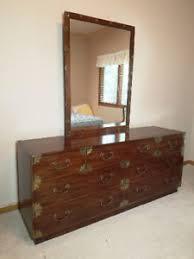 Henredon (Asian) Campaign Bedroom Set: Dresser w/Mirror; Night ...