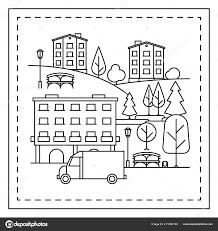 Kleurplaat Pagina Met Stad Landschap Stockvector Ssstocker
