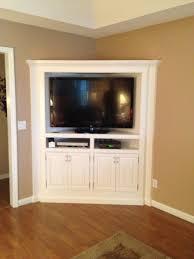 corner media cabinet. Apartment Interior, Creating Corner Media Cabinet For Television In Small Spaces: Custom TV Ideas C