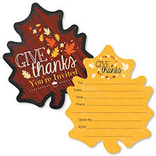 Thanksgiving Invites Give Thanks Shaped Fill In Invitations Thanksgiving Party Invitation Cards With Envelopes Set Of 12