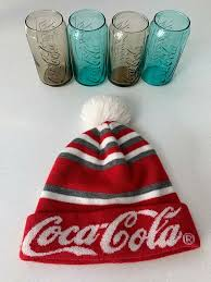 4 x coca cola mcdonalds collectable can glasses with coca cola beanie hat