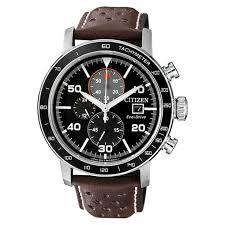 citizen gent eco drive chronograph stainless steel with leather watch ca0641 24e for