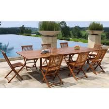 MEXICO Ensemble repas de jardin en bois teck huilé 8 places - Table ...