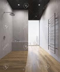 Badezimmer Interieur Mit Holzboden Betonwänden Einem Großen