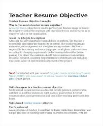 Teacher Resume Objective Simple Teacher Resume Objective Tommybanks