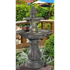 Antique Solar Garden Fountain Design Featuring Three Tier Rock Solar Garden Fountain