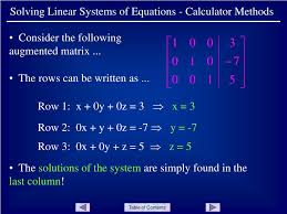 solving linear systems of equations calculator methods powerpoint ppt presentation
