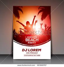 Orange Red Summer Beach Party Flyer Stock Vector 683888767 ...