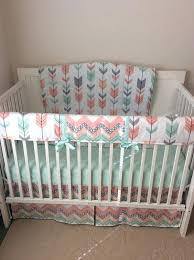 c crib sheets crib sheet baby girl crib bedding set c mint peach gray arrows with