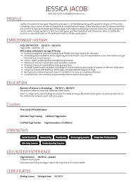 Resume Examples By Real People Yoga Instructor Resume