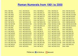 Roman Numbers 1 2000 Chart Roman Numbers 1 To 2000