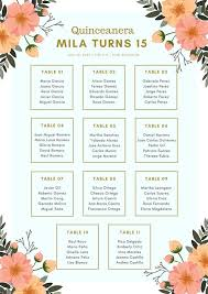 Blue Gold Floral Elegant Quinceanera Seating Chart