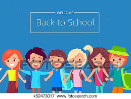 Welcome Back To School Banner With Kids Vector Clip Art