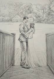 Pencil Sketches Of Couples Wedding Pencil Sketch Portrait Gift