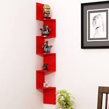 wood world home decor wall shelf zigzag corner wall mount shelf unit red 5 shelves at low s in india only on winsant com