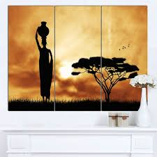 designart x27 african woman and lonely tree x27 extra large african on african woman wall art with shop designart african woman and lonely tree extra large african