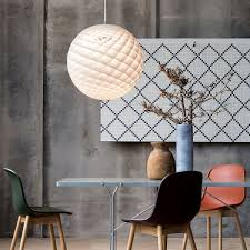 sculptural pendant lamp above the dining table