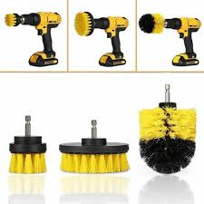 power scrubber brush set for cleaning bathroom kitchen tiles cordless drill 3pcs for